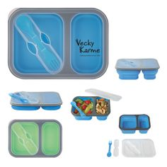 Collapsible 2-Section Food Container with Dual Utensil.  Meets FDA Requirements BPA Free.  Hand Wash Recommended