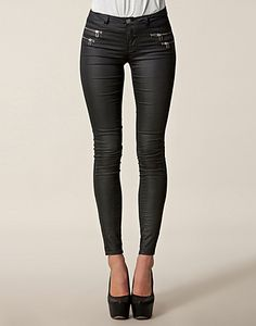 zip jeans with waxed surface