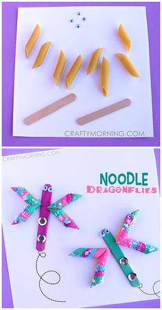 Easy Noodle Dragonfly Spring Craft for Kids to Make! | CraftyMorning.com