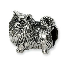 Pomeranian Charm Bead in Sterling Silver only $30.00 - Animal Beads