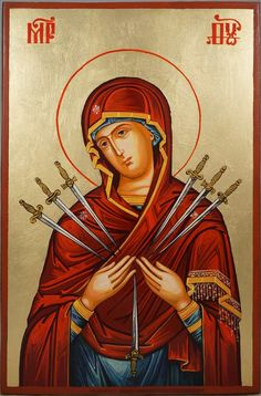 High quality hand-painted Orthodox icon of Softener of Evil Hearts. BlessedMart offers Religious icons in old Byzantine, Greek, Russian and Catholic style. Religious Images, Religious Icons, Religious Art, Byzantine Icons, Byzantine Art, Icon Tattoo, Greek Icons, Paint Icon, Our Lady Of Sorrows
