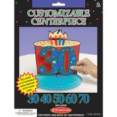 Year To Celebrate Centerpiece by AMSCAN *. $7.00. 1 per package.. Adult Birthday Centerpieces. This is definitely a birthday to celebrate! Decorate your table with this A Year to Celebrate Happy Birthday Customizable Centerpiece. Centerpiece features a cardboard cake with a number headline on a blue honeycomb base. Use the included 28 self-adhesive