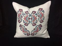 linen pillow cover  with traditional block printed by aruscraft