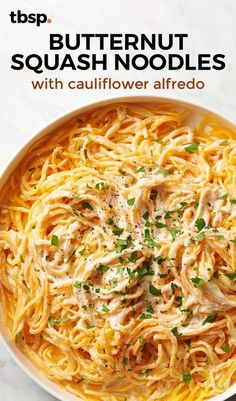 Butternut Squash Noodles With Cauliflower Alfredo