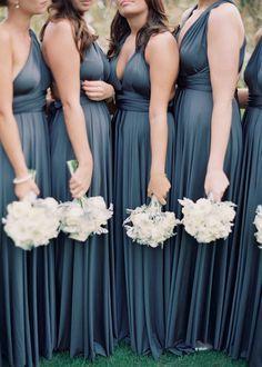 Color Inspiration: Slate and Dusty Blue Wedding Ideas - bridesmaid dresses Slate Blue Bridesmaid Dresses, Grey Bridesmaids, Wedding Bridesmaid Dresses, Wedding Dress Styles, Wedding Colors, Bridesmaid Colours, Bridesmaid Flowers, Bride Dresses, Wedding Bouquets