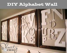 Love this #DIY alphabet wall! So cute!