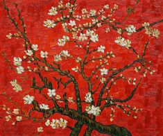 Vincent van Gogh Branches of an almond tree in Blossom in Red painting is shipped worldwide,including stretched canvas and framed art.This Vincent van Gogh Branches of an almond tree in Blossom in Red painting is available at custom size. Van Gogh Pinturas, Vincent Van Gogh, Japon Illustration, Tree Illustration, Flores Van Gogh, Art Mural Rouge, Van Gogh Almond Blossom, Red Wall Art, Henri Rousseau