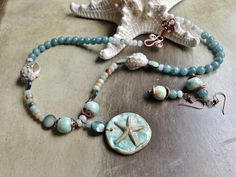 by Sheri Mallery Star of the Sea  porcelain necklace and by SheriMalleryHandwork.etsy.com  $96.00