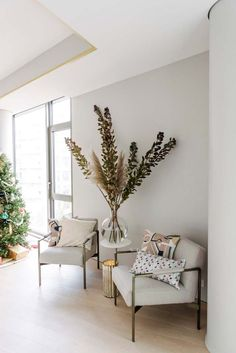 Tour the West Elm Holiday House with StreetEasy! West Elm, Color Of The Year, How To Make Wreaths, Engineered Wood, White Marble, Home Decor Inspiration, Game Room, Perfect Place, Bedroom Furniture
