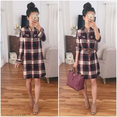 Plaid shirtdress outfit idea for fall - add a waist belt, neutral booties + colorful tote bag