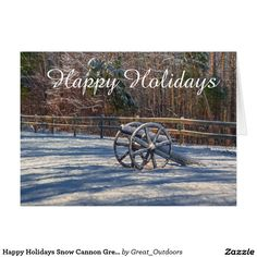 Happy Holidays Snow Cannon Greeting Card