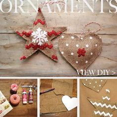 Top 36 Simple and Affordable DIY Christmas Decorations- Burlap ornaments Burlap Christmas Decorations, Christmas Ornaments To Make, Noel Christmas, Country Christmas, Homemade Christmas, Christmas Projects, Winter Christmas, Holiday Crafts, Burlap Ornaments