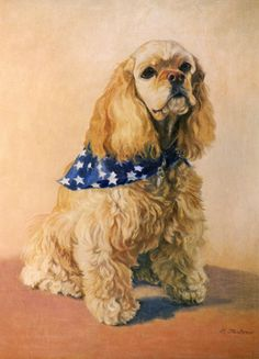 Cocker Spaniel Dog With White & Navy Scarf Signed Giclee Print from oil painting by P. Tarlow