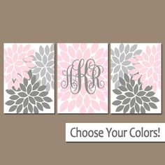 PINK GRAY Nursery Wall Art Baby Girl Monogram Artwork by TRMdesign