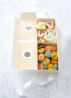 A Tea Party!a box of biscuits ( includes button and cross stitch template) Cookie Gifts, Candy Gifts, Cookie Desserts, Food Gifts, Yummy Cookies, Cupcake Cookies, Cupcakes, Spice Cookies, Yummy Treats