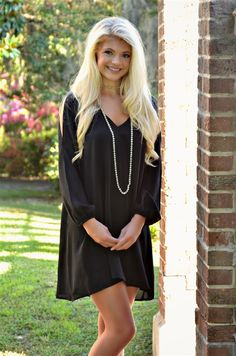 Losing My Religion Dress - Black Sheer dress with a scoop neckline. It has long sleeves that are elastic at the end it has a split in it as well. It is fully lined and flowy. #southernfriedchics