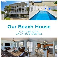 Our Beach House is a five-bedroom, four-bath beach house located 1.5 miles north of Garden City Pier and one mile from the beach.Six TVs (65-inch living room, 32-to-55-inch TVs in bedrooms) and Wi-Fi are also provided. Sleeping accommodations include two king, two queen, and two twin-sized beds. Outdoor amenities include a seven-foot-by-17-foot private swimming pool. Motorcycles permitted. No smoking. No pets. Check-out maid service is included. Linens included. Maximum occupancy: 10 Tv In Bedroom, Bedrooms, Us Beaches, Vacation Rentals, View Photos, Wi Fi, Beach House, Smoking, Swimming Pools