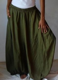 GREEN PANTS HAREM WIDE LEG POCKET HIPPY BOHO - FITS (ONE SIZE) - L XL 1X 2X - X966 LOTUSTRADERS LOTUSTRADERS. $42.99