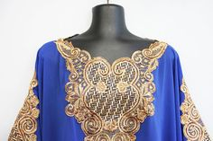 Caftan with Gold Embroidery Accents