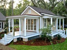 12 Surprising Granny Pod Ideas for the Backyard_ Granny Cottage porches_allcreated Downsizing to spend more time with your kids and grandkids? These Surprising Granny Pod ideas are a great way to maintain independence with charm!