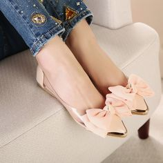 New Cute Bowknot Fashion Pointed Toe Womens Shoes Loafers Low Heels Flats Beige Pink Shoes