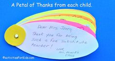 Classroom Thank You Card - thank you from the class for substitute teachers or guest speakers.  #classroom
