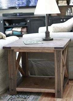 DIY - Build a Rustic X End Table from 2x4s and lumber! Free easy step by step plans from ana-white.com #woodworking