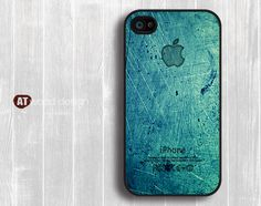 Case for black iphone 4 case iphone 4s case iphone 4 cover illustrator classic  green metal Iphone Logo design printing. $13.99, via Etsy.