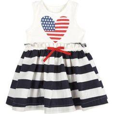 G-Cutee Newborn Baby Girls' Stars and Stripes Pleated Flare Dress, Blue