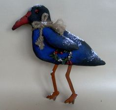 Polly the pukeko by TheChristmasDen on Etsy, handpainted Crows, Ravens, Hand Painted, Christmas Ornaments, Trending Outfits, Holiday Decor, Unique Jewelry, Handmade Gifts, Etsy