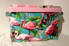Extra Large Flamingo Fabric Basket Storage by MollyFelicityDesigns
