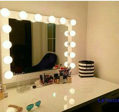 XL Vanity mirror with Hollywood lighting.Perfect for Ikea Hollywood Vanity Mirror, Diy Vanity Mirror, Ikea Vanity, Diy Makeup Vanity, Vanity Room, Long Mirror, Ikea Mirror, Vanity Desk, Mirror Mirror