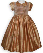 Elizabeth Fall Thanksgiving Golden Silk Smocked Baby Girls Dress