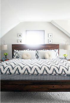 Dark wood framed bed