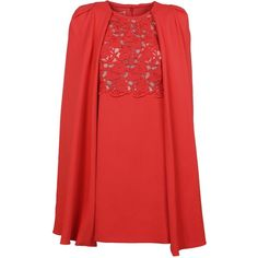 Lace Cape Dress (€1.330) ❤ liked on Polyvore featuring dresses, red, back zipper dress, round neck dress, red lace dresses, giambattista valli and red dress