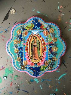 Rustic Our lady of Guadalupe image on wooden plaque/ Turquoise blue vintage image / Virgin Mary / Mexican wall art Catholic Art, Religious Art, Mexican Wall Art, Kitsch, Blessed Mother, Mexican Style, Sacred Art, Whimsical Art, Kirchen