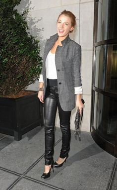 leather jeans | Blake Lively wearing leather pants, a basic white shirt & a grey ...