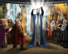 King Thingol, before the dwarves in Menegroth holding the Nauglamír restored with the Silmaril, retreived by Húrin Thalion from Nargothrond. J.R.R. Tolkien, The Silmarillion.
