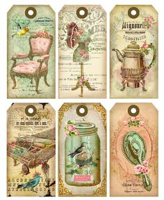 Vintage printable labels, vintage tags, vintage clip art