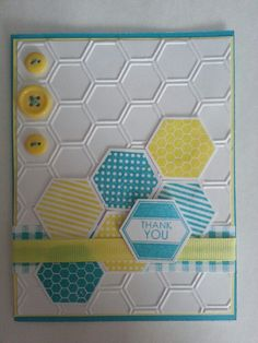 Thank You. Stampin Up six-sided sampler, Stampin Up Hexagon Punch, Close To My Heart Honeycomb stamp set.