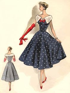 Vintage navy over knee length dress with white collar, white small polka dots and a red bow Moda Retro, Moda Vintage, Vintage Mode, Fashion Illustration Vintage, Illustration Mode, 1950s Style, Vintage Outfits, Vintage Dresses, 1950s Dresses