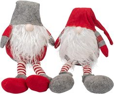 Transpac Imports, Inc. Santa Gnome Shelf Sitter Red 25 x 8 Plush Christmas Holiday Figurines Set of 2 Christmas Figurines, Christmas Nativity, Christmas Ornaments, Christmas Is Coming, Christmas Holidays, Collectible Figurines, Red And Grey, Gnomes, Decorative Accessories