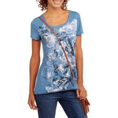 Faded Glory Women's Short Sleeve Allover Print T-Shirt with Crochet Hem, Blue