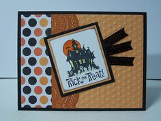 Stampin Up Best of Halloween Handmade Greeting Card: Happy Halloween Card, Haunted House, Trick or Treat, Children, Child, Kid