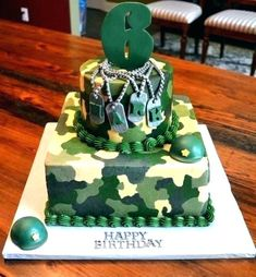 An army themed birthday cake is a perfect addition to any army themed slumber party. Army Themed Birthday, Army Birthday Cakes, Army Birthday Parties, Army's Birthday, Birthday Ideas, Camouflage Party, Camo Party, Army Camouflage, Army Cake