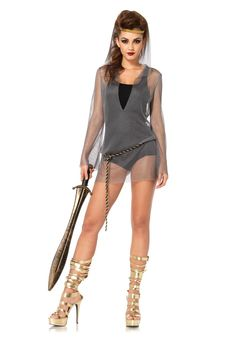Amazon.com: Leg Avenue Women's 2 Piece Faux Chain Mail Hooded Dress and Rope Belt Costume, Silver, Small/Medium: Clothing
