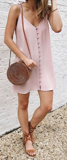 Blush button-front slip dress, round raffia bag, suede lace-up sandals: 45 Summer Outfit Ideas Ideas That Are Big on Style, Low on Effort