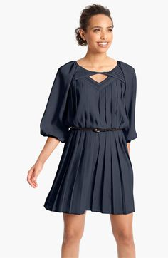 Jessica Simpson Pleated Crêpe de Chine Blouson Dress available at #Nordstrom