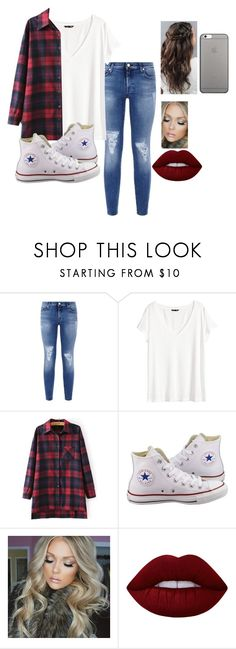 """""""One last flannel outfit since it is almost spring"""" by mmd32 ❤ liked on Polyvore featuring 7 For All Mankind, H&M, Converse, Lime Crime and Native Union"""