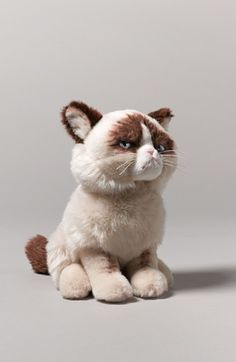 grumpy stuffed cat - don't you just want to make him happy!
